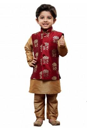 Golden,Maroon Colour Boy's Readymade Kurta Pajama.