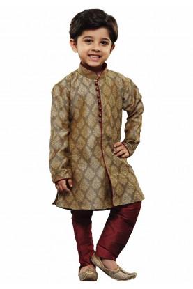 Boy's Beige Colour Kurta Pajama.