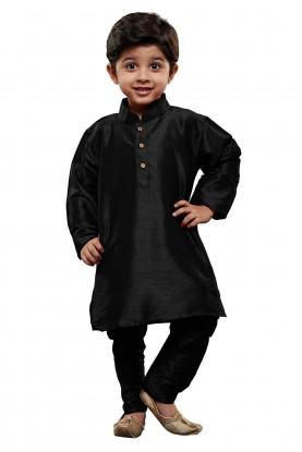 Black Colour Cotton Silk Kurta Pajama.