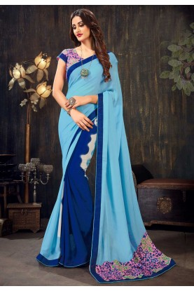 Blue Colour Chiffon Saree.
