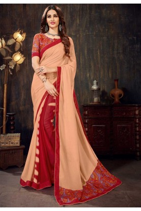 Peach,Red Colour Saree.
