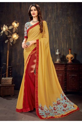 Yellow,Red Colour Chiffon Sari.