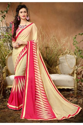 Cream,Pink Colour Printed Saree.