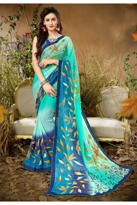 Blue Colour Casual Saree.