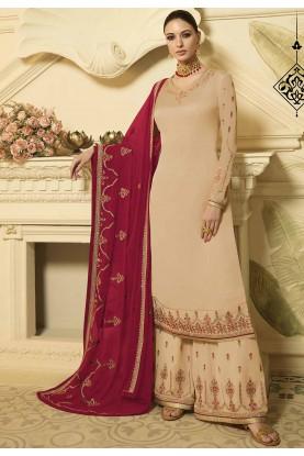 Cream Colour Designer Palazzo Salwar Suit.