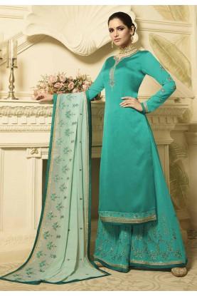 Green Colour Palazzo Salwar Suit.