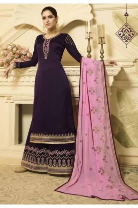 Purple Designer Palazzo Suit.