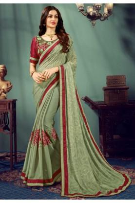 Green Colour Printed Saree.