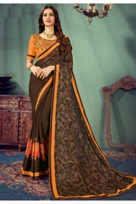 Brown Colour Embroidery Saree.