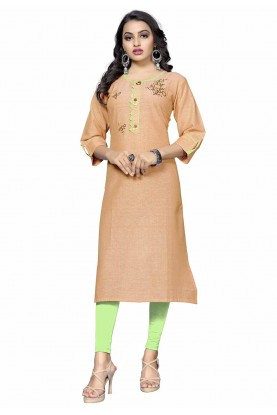 Orange Colour Readymade Kurti.