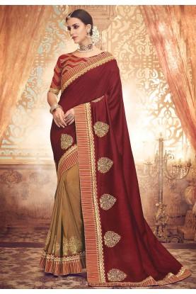 Maroon,Beige Designer Sari.