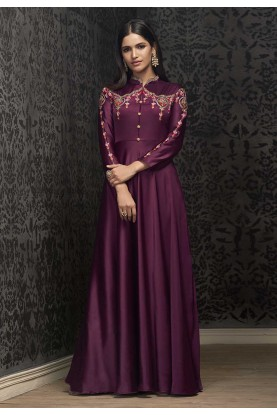 Magenta Colour Party Wear Gown.