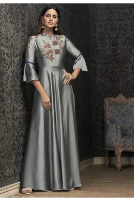 Grey Colour Readymade Gown.