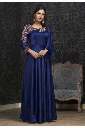 Beautiful Blue Colour Designer Gown.