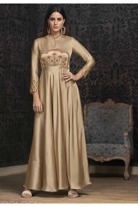 Beige Colour Indowestern Gown.