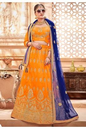 Orange Colour Traditional Lehenga Choli.