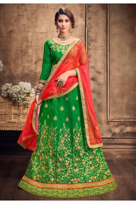 Green Colour Lehenga Choli.