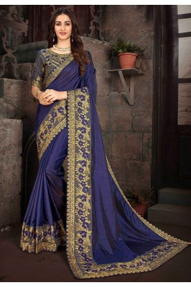 Blue Colour Party Wear Saree.