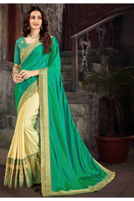 Green,Cream Colour Indian Designer Saree.