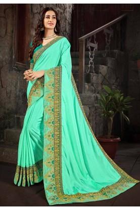 Green Colour Art Silk Saree.