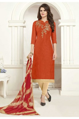 Orange Colour Casual Salwar Kameez.