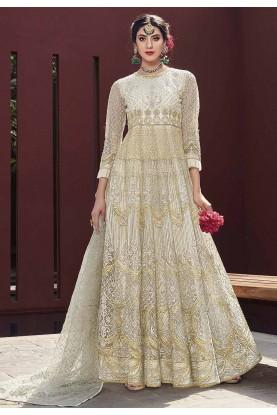 Off White Colour Anarkali Salwar Kameez.