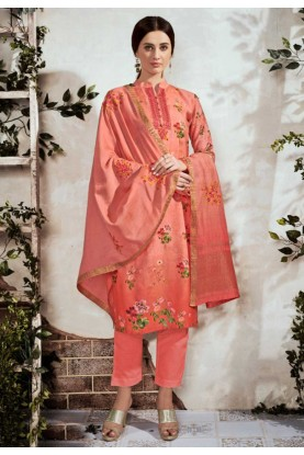 Peach Colour Cotton Salwar Suit.