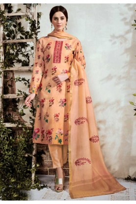 Orange Cotton Palazzo Salwar Suit.