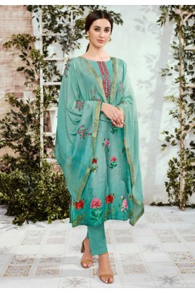 Green Colour Printed Salwar Kameez.