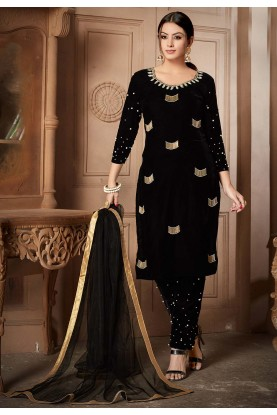 Black Colour Velvet Salwar Kameez.