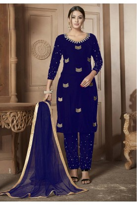 Blue Colour Velvet Salwar Suit.