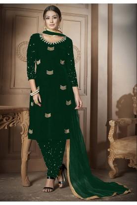 Green Salwar Kameez.