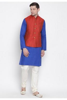 Blue,Red Colour Kurta Pajama With Jacket.