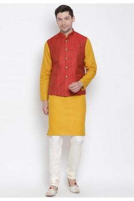 Yellow,Maroon Colour Readymade Kurta Pajama.