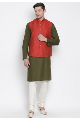 Cotton Kurta Pajama With Jacket.