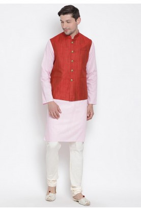 Pink,Maroon Colour Men's Kurta Pajama.
