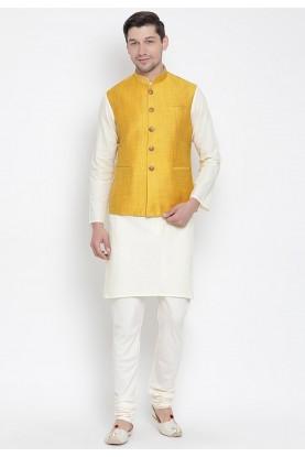 Cream,Yellow Colour Readymade Kurta Pajama.