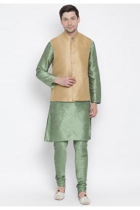 Green,Beige Colour Men's Kurta Pajama With Jacket.