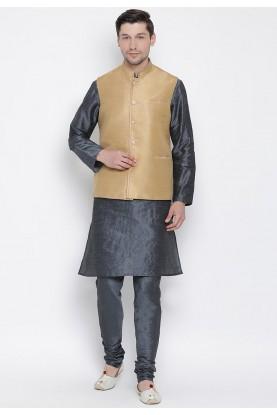 Grey,Beige Colour Cotton Silk Kurta Pyjama.