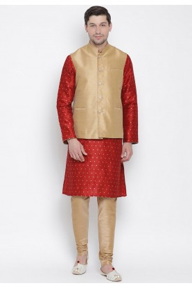Red,Beige Colour Designer Kurta Pyjama.