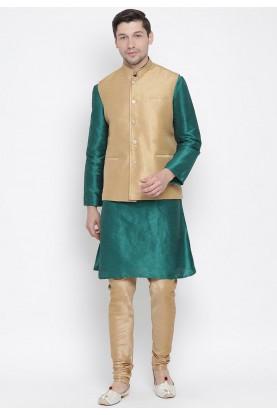 Green,Beige Colour Kurta Pajama With Jacket.