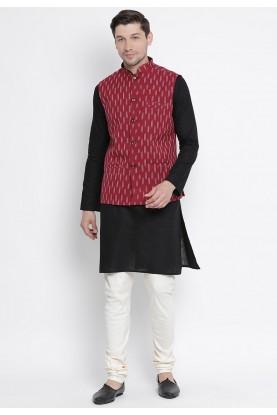 Black,Maroon Colour Cotton Kurta Pajama.