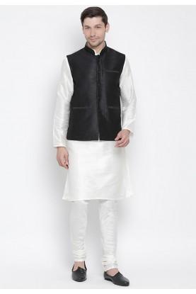 Off White,Black Colour Cotton Silk Kurta Pajama.