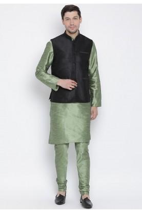Green,Black Colour Men's Kurta Pajama.