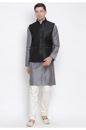 Grey,Black Colour Cotton Kurta Pajama.