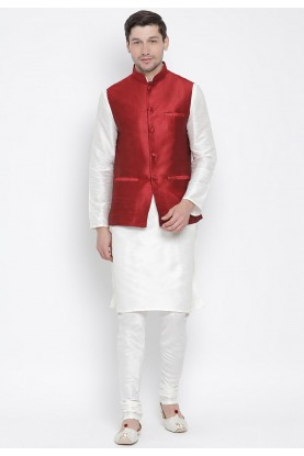 Off White,Maroon Colour Plain Kurta Pajama.