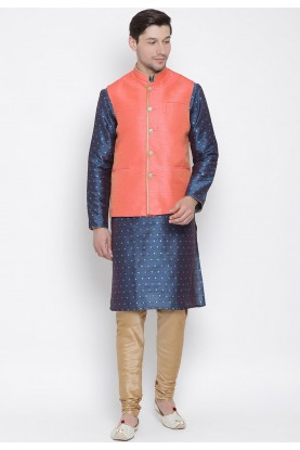 Blue,Peach Colour Cotton Silk Kurta Pajama.