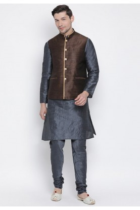 Grey,Brown Colour Cotton Silk Kurta Pajama.