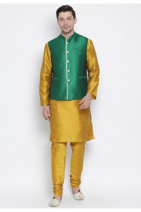 Yellow,Green Cotton Silk Kurta Pajama.