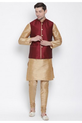 Golden,Maroon Colour Designer Kurta Pajama.